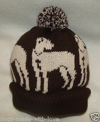 GREAT DANE FAWN dog NEW Knitted Adult size DARK BROWN beanie pompom bobble HAT