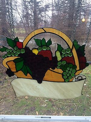 Vintage Antique Stained Glass Leaded Glass Art Glass Sign Grapes Wine Winery