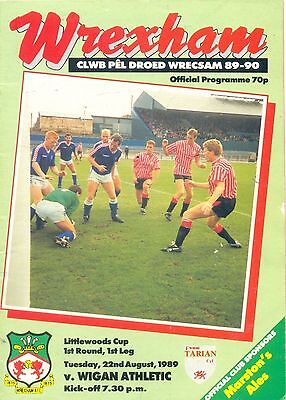 WREXHAM v WIGAN ATHLETIC Littlewoods cup 1st round 1st leg 22 August 1989