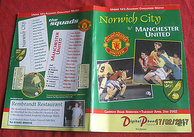 UNDER 14 CHALLENGE MATCH - NORWICH CITY v MANCHESTER UNITED APR 2002