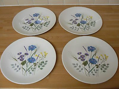 """4 Ridgway Country Garden 10 """" Dinner Plates Made in England"""
