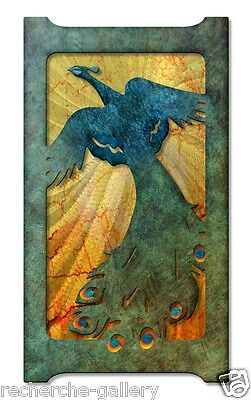 Flying Peacock Modern Painting on Metal Wall Art Decor by Artist Ash Carl