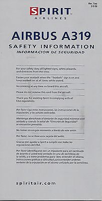Spirit Airlines (Usa) - Airbus A319 - 03/2006 - Safety Card - Consignes Securite