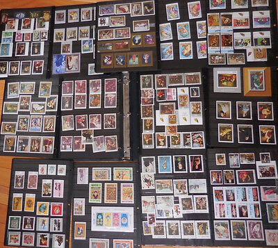 Vintage Stamp Album Lot of 200 Stamps Collectible Artworks Paintings and Artists
