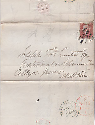 1846 QV COVER WITH 1d RED IMPERF STAMP FROM WICKLOW TO JOSEPH T HUNTER IN DUBLIN
