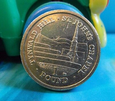 Rare 2014 One Pound Coin - ISLE OF MAN-ST JOHN`S CHAPEL  (Circulated)