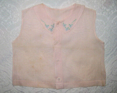 Vintage 1950s Pink Baby Girl Or Doll Sleeveless Blouse 6 Mos Embroidered Collar