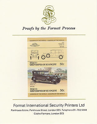 Bequia (2149) - 1985 Cars #3 Lanchester  imperf on Format Int PROOF  CARD