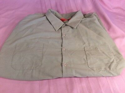 RED KAP WORK SHIRT LONG SLEEVE, GREAT SHAPE MENS SIZE 4XL,(fits Like A 3xl)
