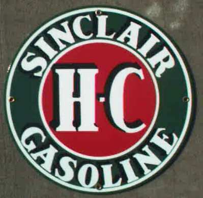 *hc Sinclair Gasoline Porcelian Overlay Metal Sign *nr