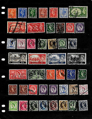 Great Britain: Nice Mid Century  Stamp Lot. Displayed On 5 Sheets. See Scans