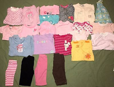 Huge Lot of 23 Baby Girl Clothes Outfits Sleepers 3- 6 Months Gymboree Greendog