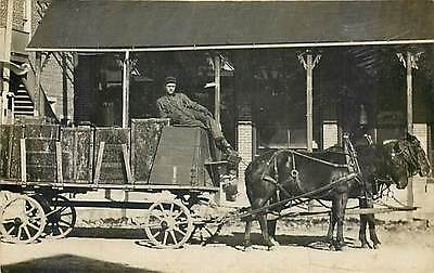 Horse Drawn Delivery Wagon, RPPC, Trunks Cargo, Unknown Location