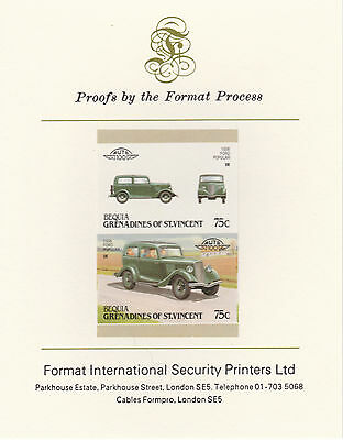 Bequia (2163) - 1987 Cars #7 Ford Popular imperf on Format Int PROOF  CARD