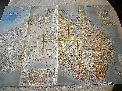 1963 Vintage Map Of Australia National Geographic