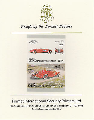 Bequia (2164) - 1987 Cars #7 Mercedes Benz imperf on Format Int PROOF  CARD