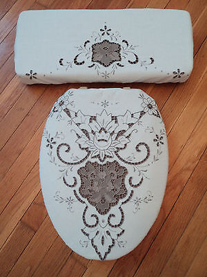 Brown Rose REVERSIBLE Vintage Chenille Crochet Toilet Seat & Tank Lid Cover Set