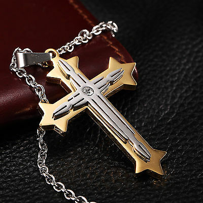 AgentX Men's Stainless Steel Rhinestones Cross Pendant Necklace Chain + Bag