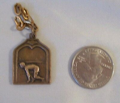 Vintage Track And Field Small Brass Charm