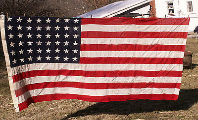 48 star flag WWII ~ sewn on stars sewn stripes Uniited States soldier flag