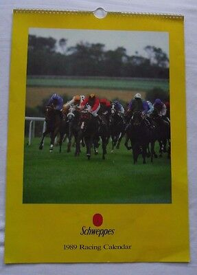 Vintage Schweppes Horse Racing Calendar 1989 Desert Orchid/charter Party/eddery