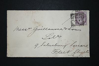 GB QV Stamps 1889 SG172 One Penny 1d LILAC Die II (16 dots) Used on Cover cv £5+