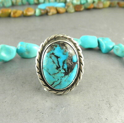 MASSIVE Vintage GEM MORENCI Spiderweb Navajo Style Turquoise Ring