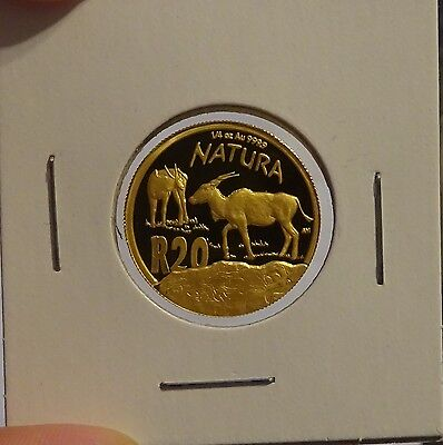 "South Africa 20 Rand 2007 ""NATURA"" CHOICE PROOF ¼ oz. Pure Gold"