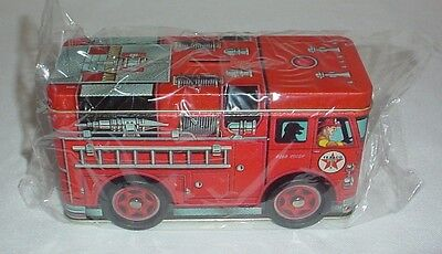 Texaco Red Fire Engine Truck Tin Bank 1997 Coin Slot Moving Wheels