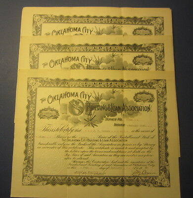 Lot of 25 Old 1920's - OKLAHOMA CITY Building & Loan Assoc. Stock Certificates