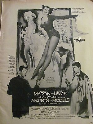 Artists and Models, Dean Martin, Jerry Lewis, Full Page Vintage Promotional Ad