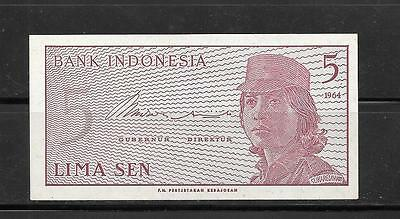 INDONESIA #91a 1964 crisp -MINT OLD 5 SEN BANKNOTE BILL NOTE PAPER MONEY