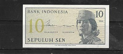 INDONESIA #92a 1964 UNCIRCULATED -MINT OLD 10 SEN BANKNOTE BILL NOTE PAPER MONEY