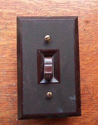 Vintage Retro Brown Bakelite Electric Light Switch & Switch Plate c1940