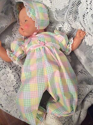 "Doll Clothes for 19""/20"" Large Thumbelina ""Pastel Plaid Romper Set"" by Maureen"