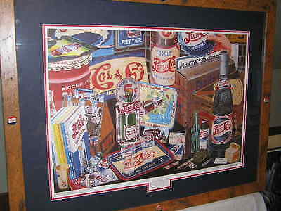 Framed Pepsi  Print Bottle Cap Tray Buckle Vending Machine Collectable