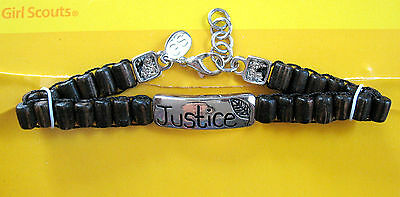 Silver BRACELET, I.D-Style JUSTICE Girl Scout Collector's NEW on Card GIFT
