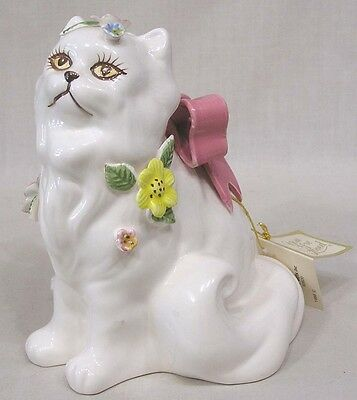 Vintage Artistic Gifts Cat Figurine Applied Flowers Pink Bow Hang Tag 1988