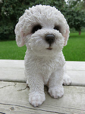 Bichon Frise Puppy  Dog Figurine Ornmant Statue Resin Pet Canine  New