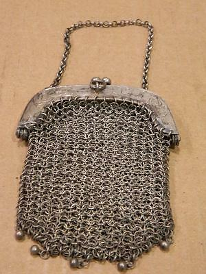 Silver Mesh Metal Evening Purse Metal Frame for Chatelaine Antique