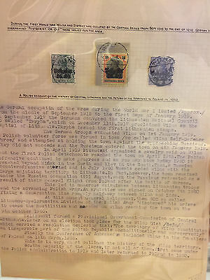 Lithuania Germany Write up Pre 1919 with overprint stamps.