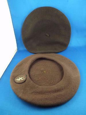 Girl Guides Canada Brownie Tam Brown Beret Hats Lot Of 2 Badge Patch Logo