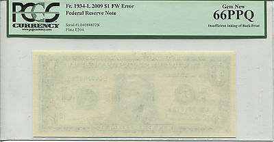 $1 FRN 2009 FW Fr-1934-L Insufficient Inking Back Plate PCGS 66PPQ  * AvenueCoin