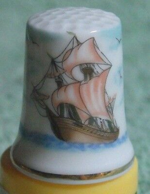 Vintage 1980's Spanish Clipper Galleon Ship Bone China Thimble With 18Kt Gt