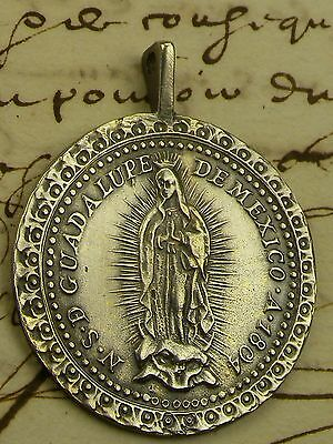 Antique DATED 1804 Spanish Colonial Guadalupe Mexico Shrine Silver Rosary Medal