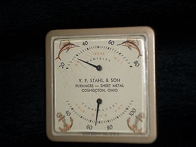 V.P. Stahl & Son Furnaces Coshocton Ohio Advertising Barometer Anchor Fish COOL!
