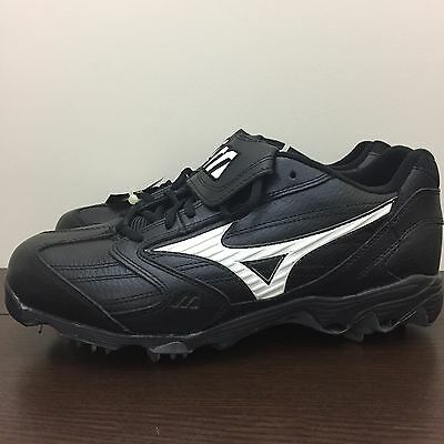 Mizuno 9-Spike Men's Classic G4 Low Metal Baseball Cleats Black White NEW