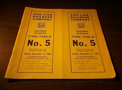 November 1963 Soo Line Railroad Eastern Division Employee Timetable #5