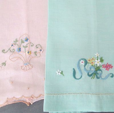 2 MADEIRA Linen Hand Embroidered Towels PINK + Green * FLOWER BASKET Flowing BOW