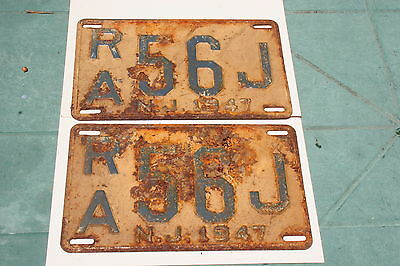 Vintage 1947 New Jersey Matched Set License Plates